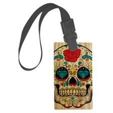 Wood Sugar Skull Luggage Tag