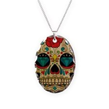 Wood Sugar Skull Necklace Oval Charm