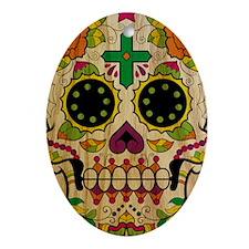 Wood Sugar Skull Oval Ornament