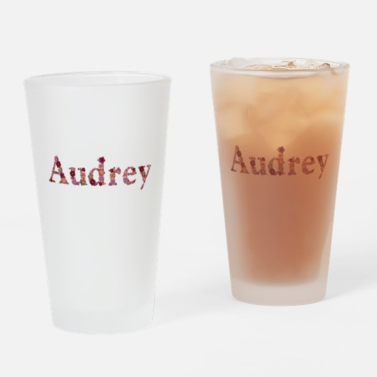 Audrey Pink Flowers Drinking Glass
