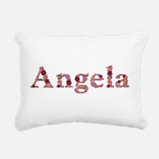 Angela Pink Flowers Rectangular Canvas Pillow
