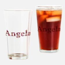 Angela Pink Flowers Drinking Glass