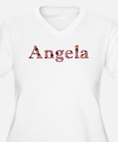 Angela Pink Flowers Plus Size T-Shirt