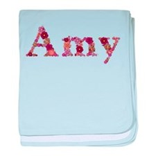 Amy Pink Flowers baby blanket