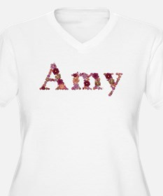 Amy Pink Flowers Plus Size T-Shirt