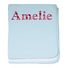 Amelie Pink Flowers baby blanket