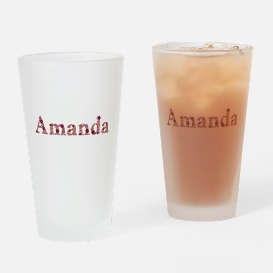 Amanda Pink Flowers Drinking Glass