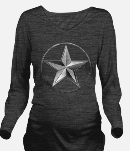 Silver Lone Star Long Sleeve Maternity T-Shirt