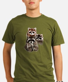 Cute Watercolor Raccoon Animal Family T-Shirt