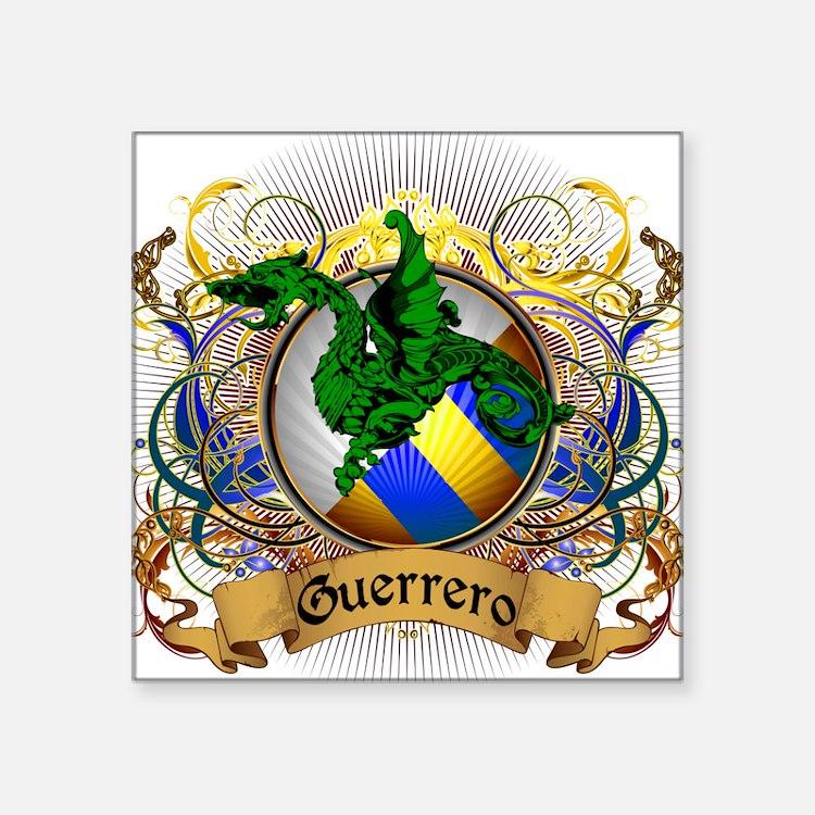 """Guerrero Family Crest Square Sticker 3"""" x 3"""""""
