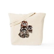 Cute Watercolor Raccoon Animal Family Tote Bag