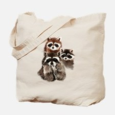 Cute Watercolor Raccoon Animal Family Tote Bag