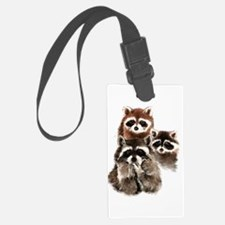 Cute Watercolor Raccoon Animal Family Luggage Tag