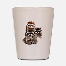 Cute Watercolor Raccoon Animal Family Shot Glass
