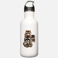 Cute Watercolor Raccoon Animal Family Water Bottle