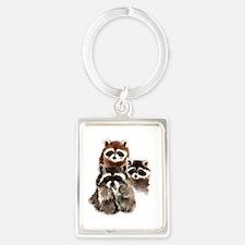 Cute Watercolor Raccoon Animal Family Keychains