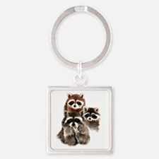 Cute Watercolor Raccoon Animal Family Keychains