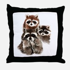 Cute Watercolor Raccoon Animal Family Throw Pillow