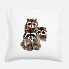 Cute Watercolor Raccoon Animal Family Square Canva