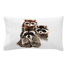Cute Watercolor Raccoon Animal Family Pillow Case