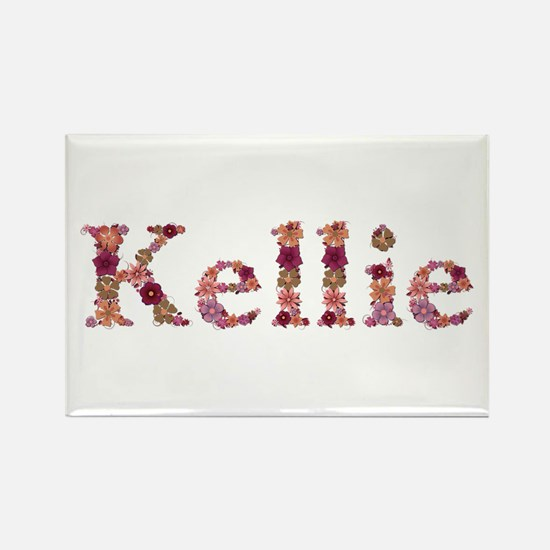 Kellie Pink Flowers Rectangle Magnet