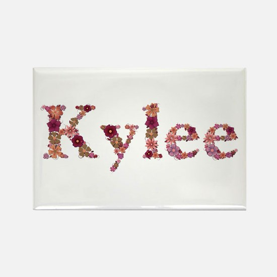 Kylee Pink Flowers Rectangle Magnet