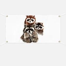 Cute Watercolor Raccoon Animal Family Banner