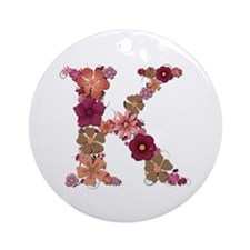 K Pink Flowers Round Ornament