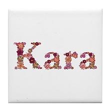 Kara Pink Flowers Tile Coaster
