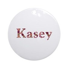 Kasey Pink Flowers Round Ornament
