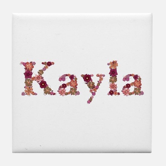 Kayla Pink Flowers Tile Coaster