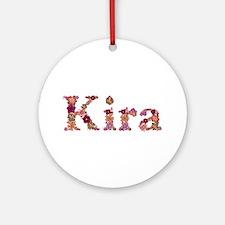 Kira Pink Flowers Round Ornament