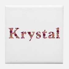 Krystal Pink Flowers Tile Coaster