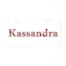 Kassandra Pink Flowers Aluminum License Plate