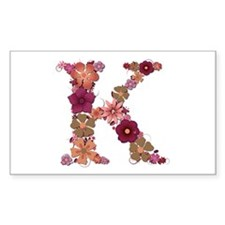 K Pink Flowers Rectangle Decal