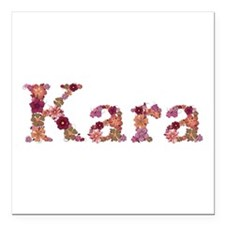 Kara Pink Flowers Square Car Magnet