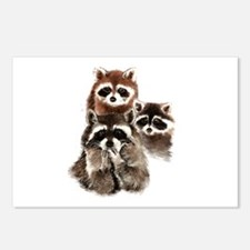 Cute Watercolor Raccoon Animal Family Postcards (P