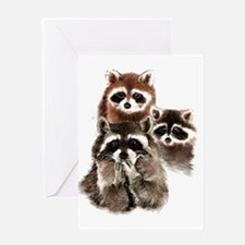 Cute Watercolor Raccoon Animal Family Greeting Car