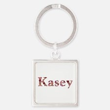 Kasey Pink Flowers Square Keychain