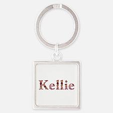 Kellie Pink Flowers Square Keychain
