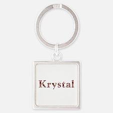 Krystal Pink Flowers Square Keychain