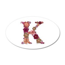 K Pink Flowers 20x12 Oval Wall Decal