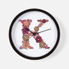 K Pink Flowers Wall Clock