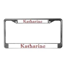 Katharine Pink Flowers License Plate Frame