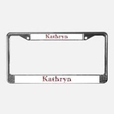 Kathryn Pink Flowers License Plate Frame