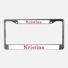 Kristina Pink Flowers License Plate Frame