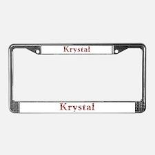 Krystal Pink Flowers License Plate Frame