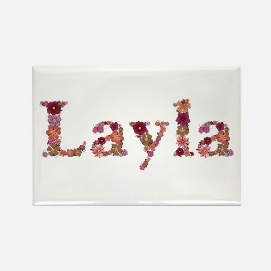 Layla Pink Flowers Rectangle Magnet