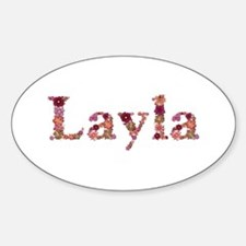 Layla Pink Flowers Oval Decal