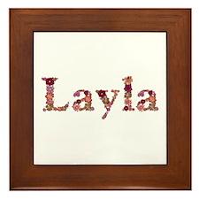Layla Pink Flowers Framed Tile
